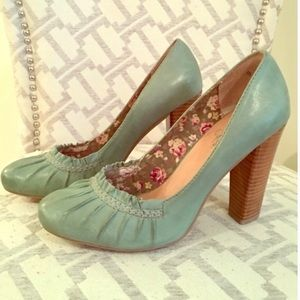 Seychelles Mint Green Ruched Pumps Shoes Heels